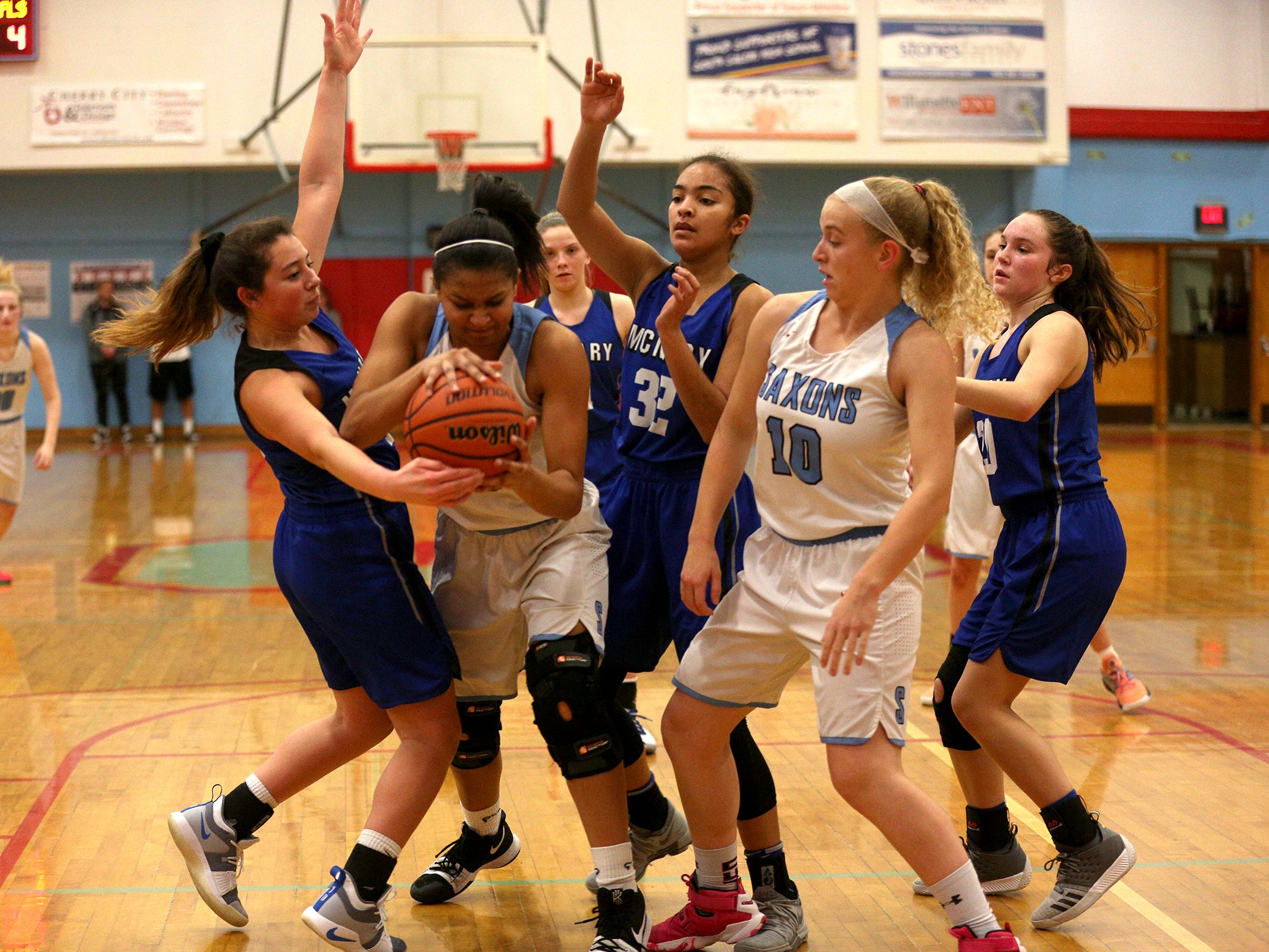 South Salem's Victoria Stafford (23) maintains control of the ball during the South Salem High School girls basketball game against McNary High School in Salem on Thursday, Jan. 31, 2019.