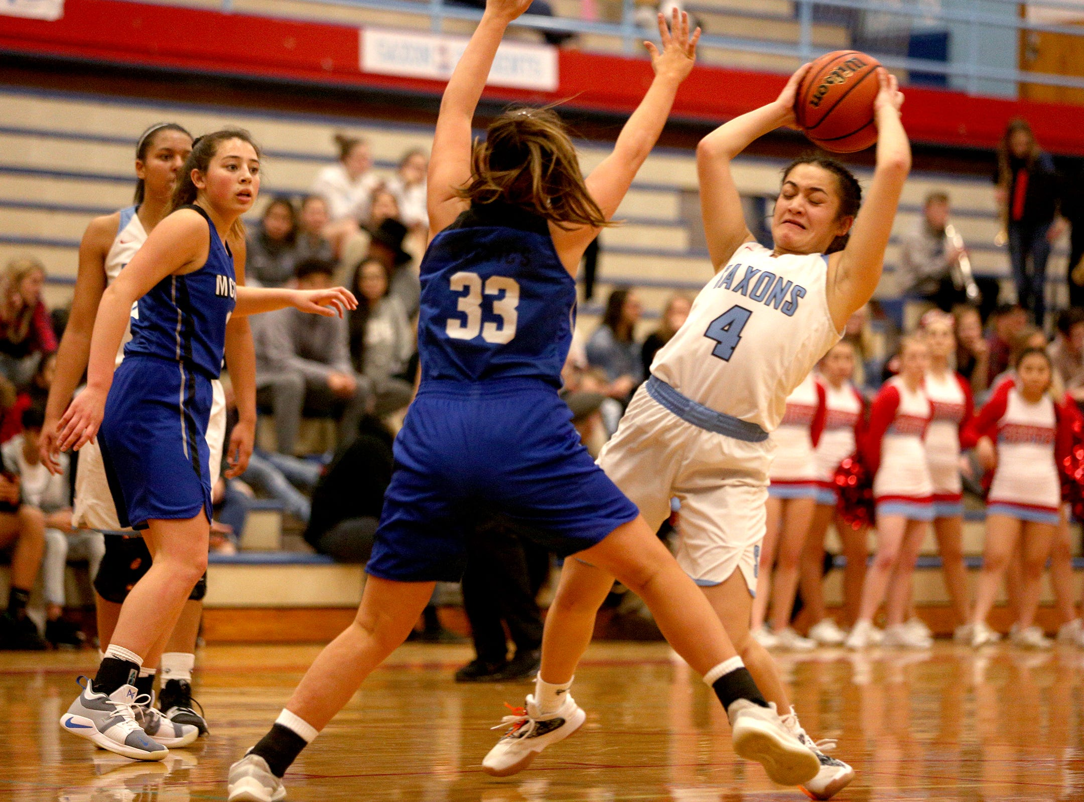 South Salem's Tiani Gebauer-Tinitali (4) during the South Salem High School girls basketball game against McNary High School in Salem on Thursday, Jan. 31, 2019.