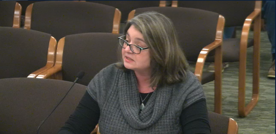 In this screenshot from the Oregon State Legislature website, Robin Socherman testifies before Oregon lawmakers on Jan. 29, 2019.