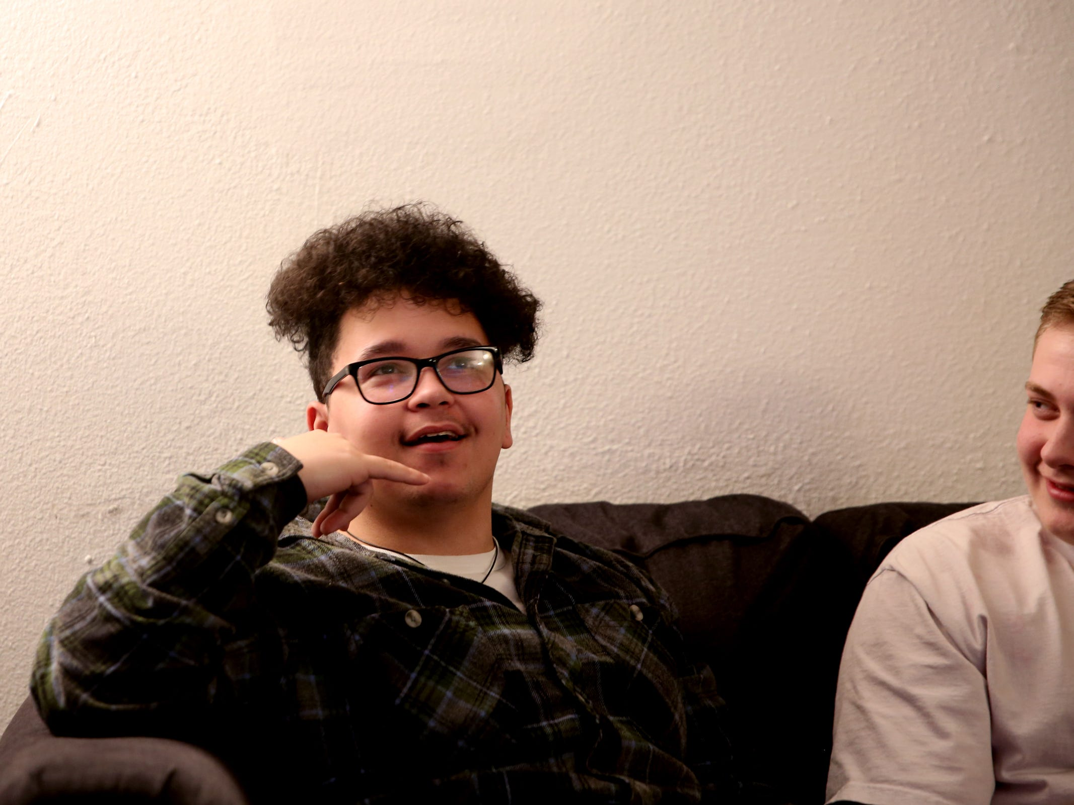 Caleb McDonald, 18, left, mimes his reaction after finding out he placed third in a national songwriting competition as Andrew McMains, 17, watches at IKE Box in Salem on Thursday, Jan. 31, 2019. Songs they and one other Salem teen wrote placed in the Teens Make Music national competition, organized by MusiCares, and will travel to this year's GRAMMY Awards in Los Angeles.