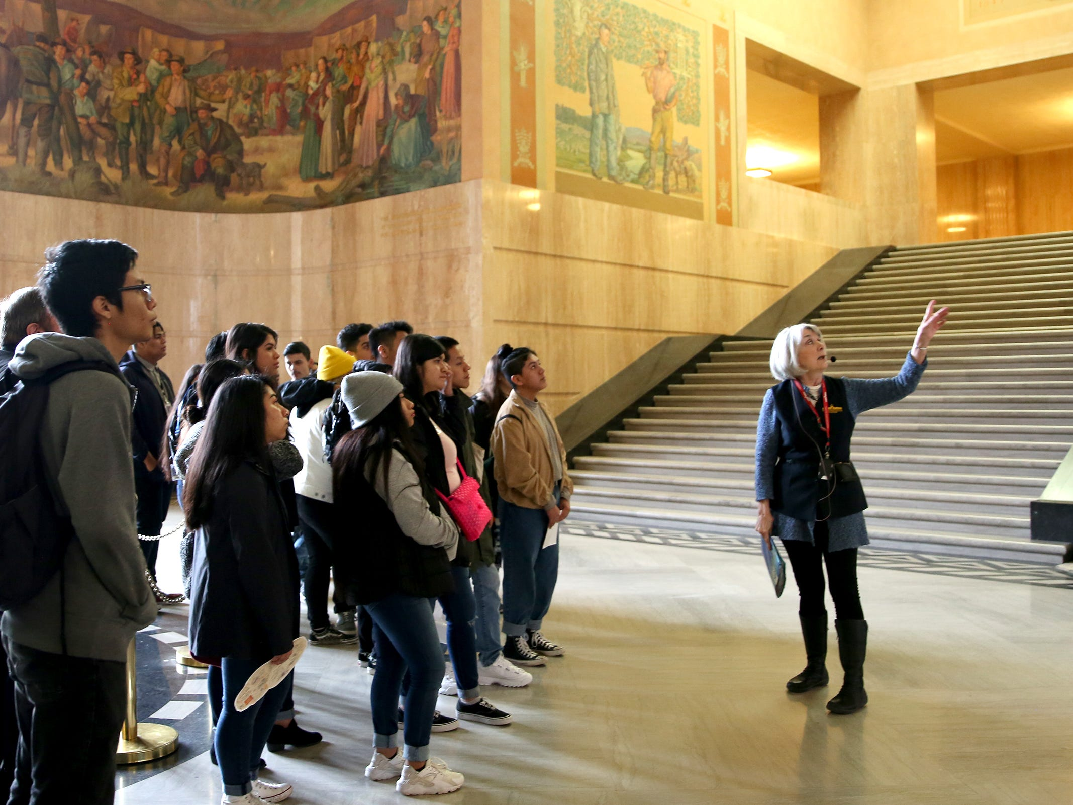 Woodburn High School students get a tour of the Oregon State Capitol during Career and Technical Education (CTE) day at the Oregon State Capitol in Salem on Friday, Feb. 1, 2019.