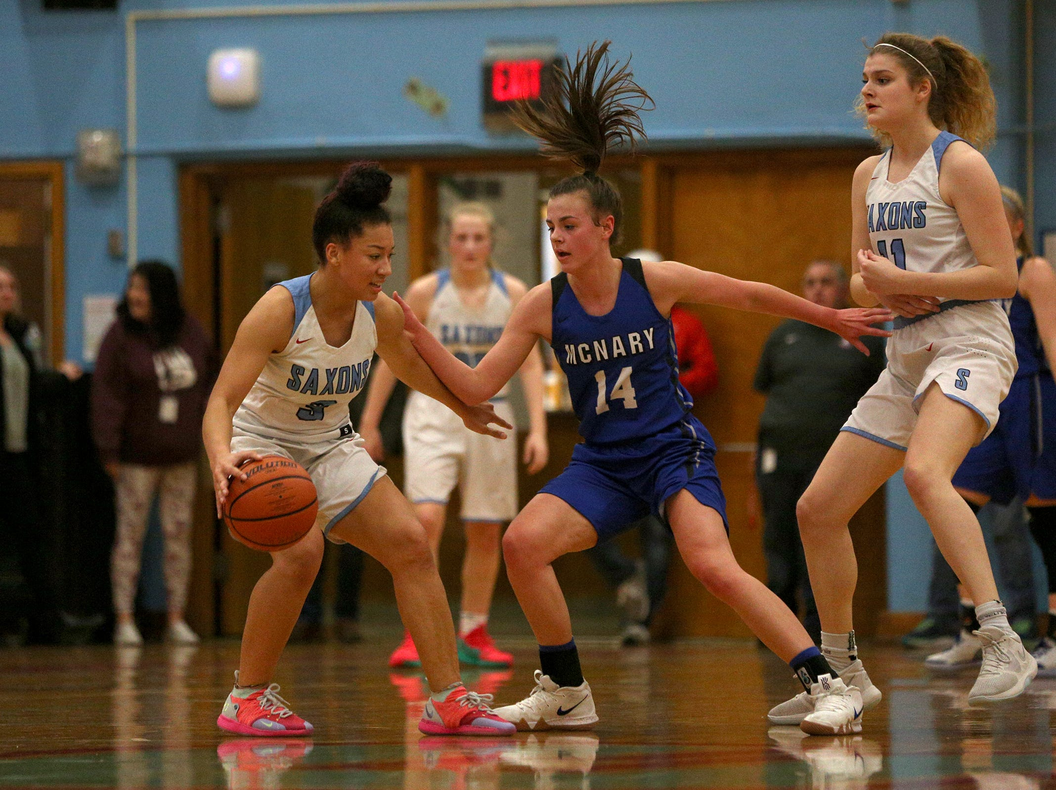South Salem's Maylah Bolden (3) protects the ball during the South Salem High School girls basketball game against McNary High School in Salem on Thursday, Jan. 31, 2019.