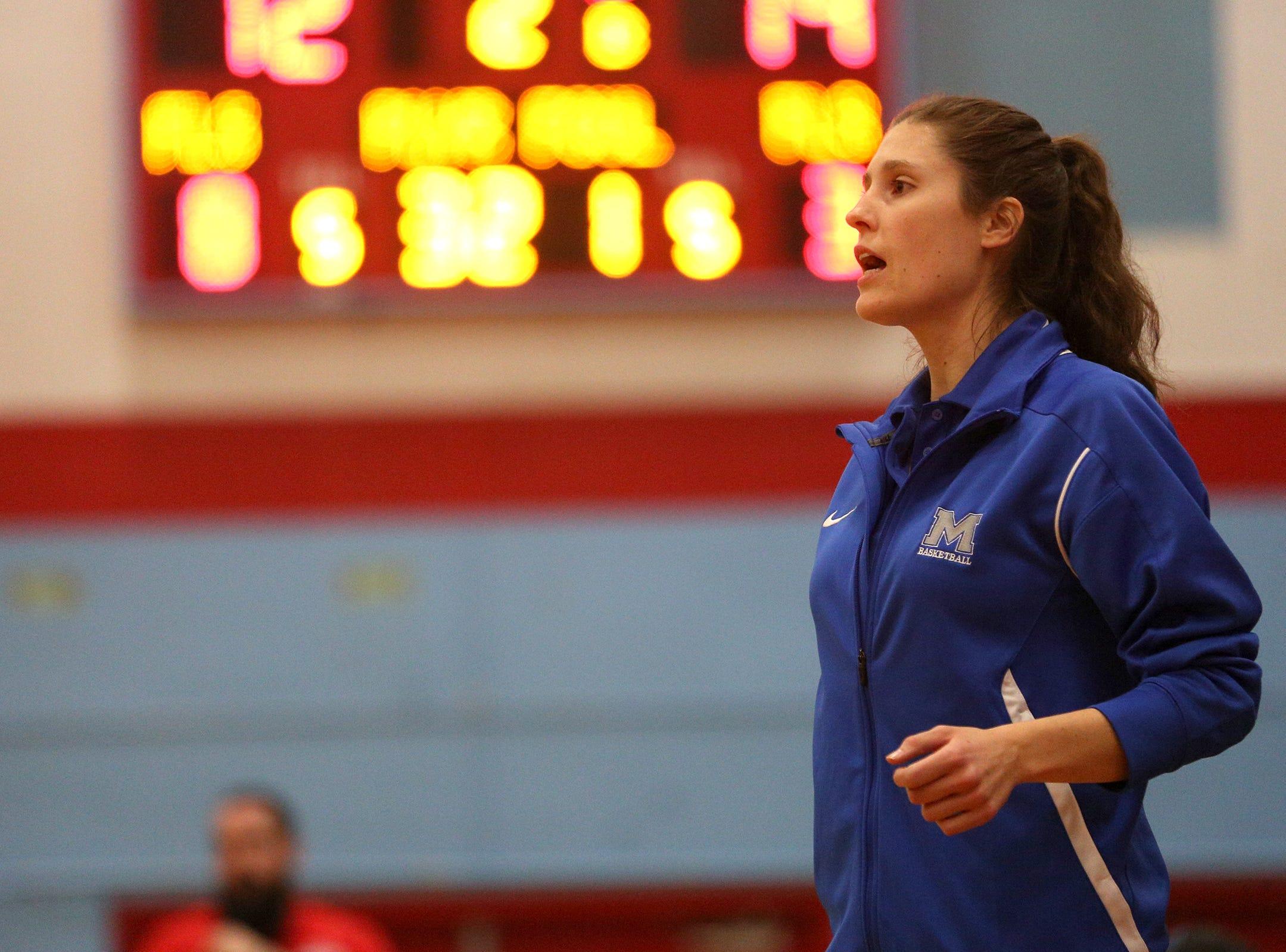 McNary's head coach Elizabeth Doran during the South Salem High School girls basketball game against McNary High School in Salem on Thursday, Jan. 31, 2019.