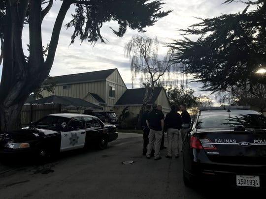 Salinas police respond to a shooting scene on Santa Rita Street Feb. 1, 2019.