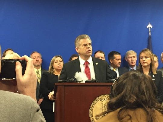 """Virginia House Speaker Kirk Cox speaks at a Republican press conference on what he called was """"an extremely disturbing"""" bill to expand abortion rights."""