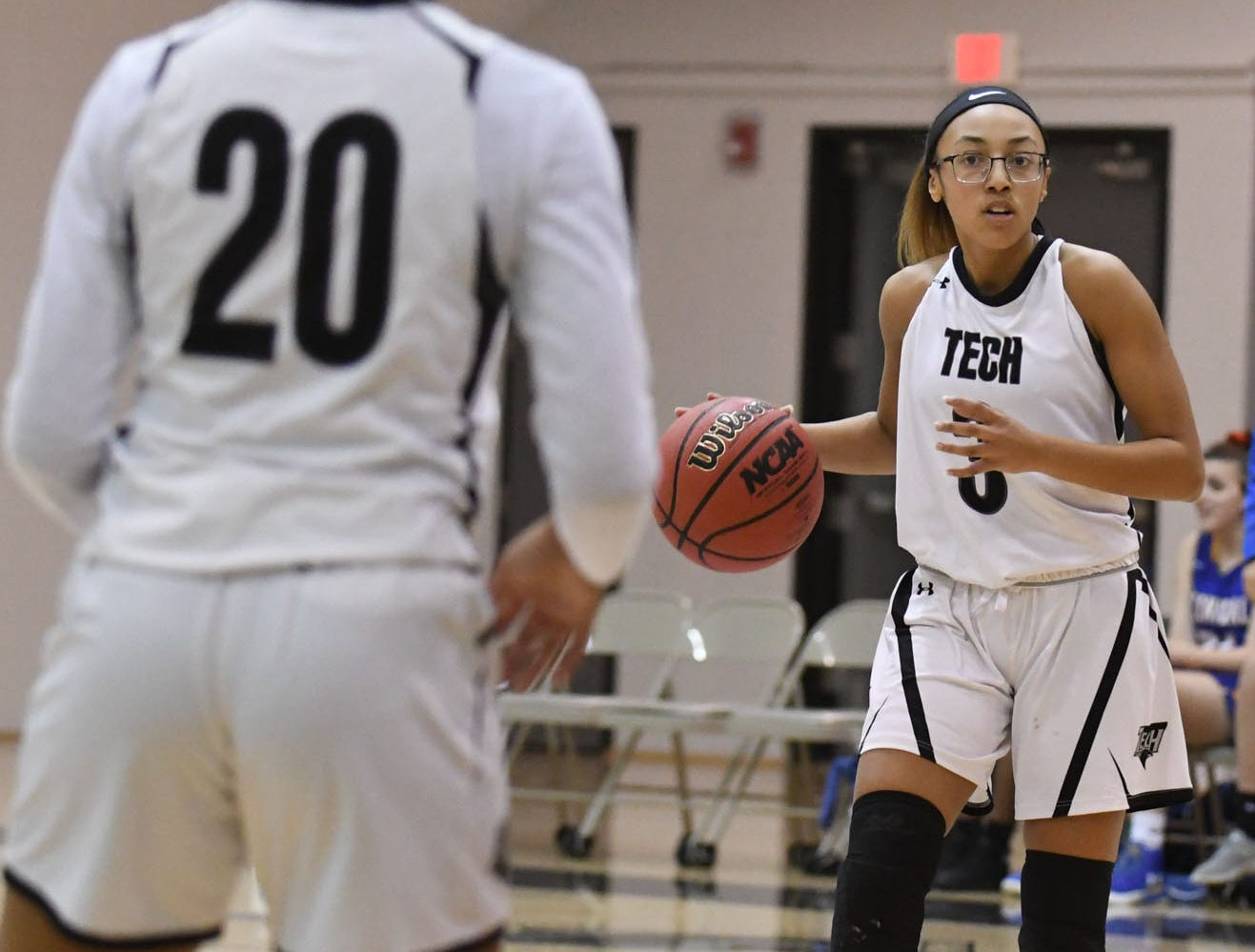 Sussex Tech's Airelle Parker with the ball against Sussex Central on Thursday, Jan. 31, 2019.