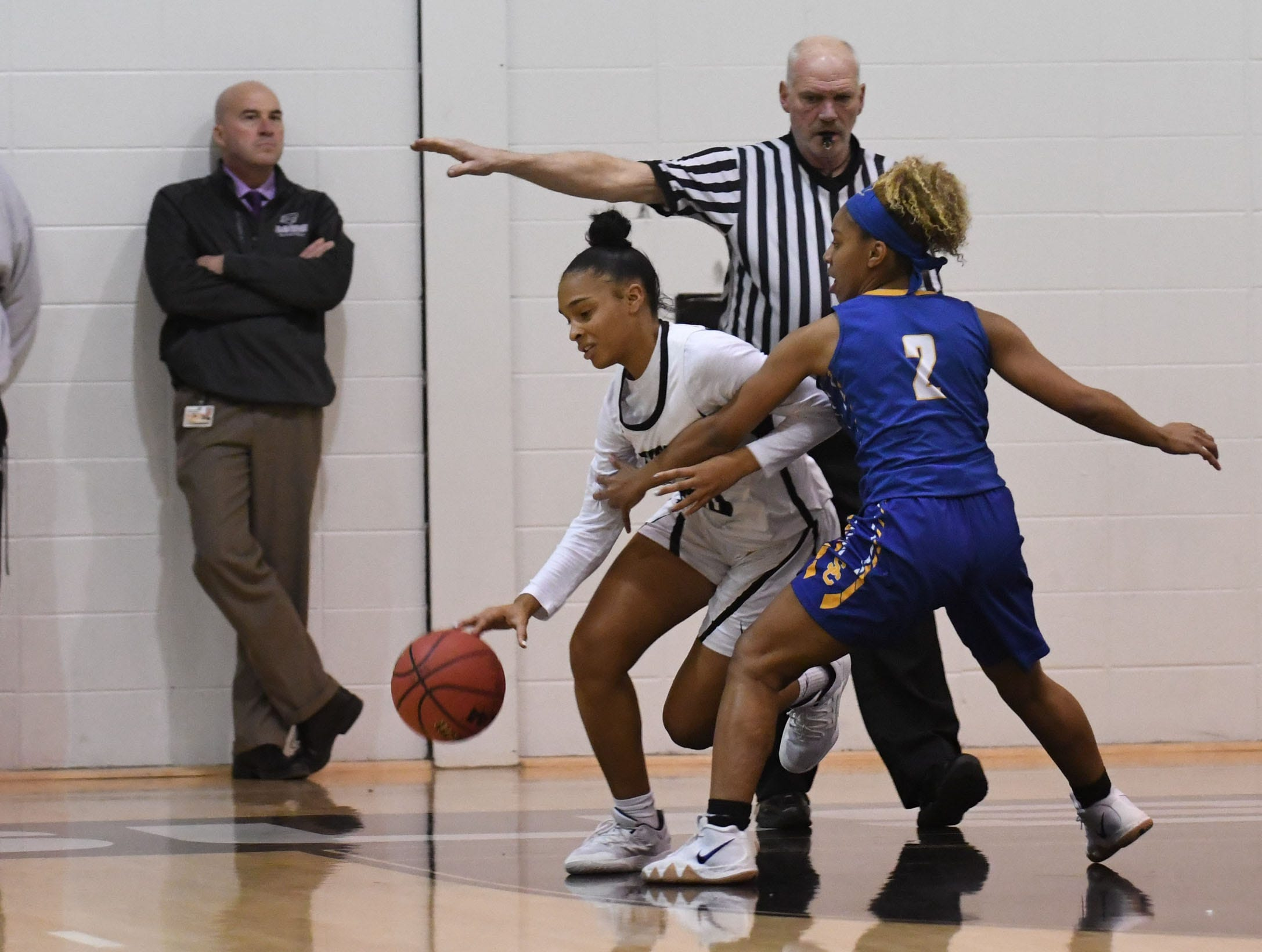 Sussex Tech's Camille Scott with the ball against Sussex Central on Thursday, Jan. 31, 2019.