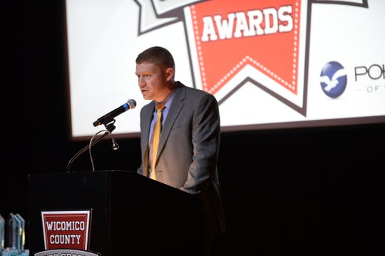 Wicomico County Recreation, Parks & Tourism Recreation Superintendent James Simmons speaks at the second annual Good Sports Awards on Thursday, Jan. 31, 2019.