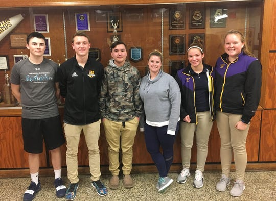 (L-R): Doc Daniel, Noah Soukup, Nicholas Fuller, Emily Boland, Delaney French and Taylor Swann were nominated to take part in the Ambassador Leadership Summit this summer. Boland, Crisfield's softball coach, nominated the five athletes.