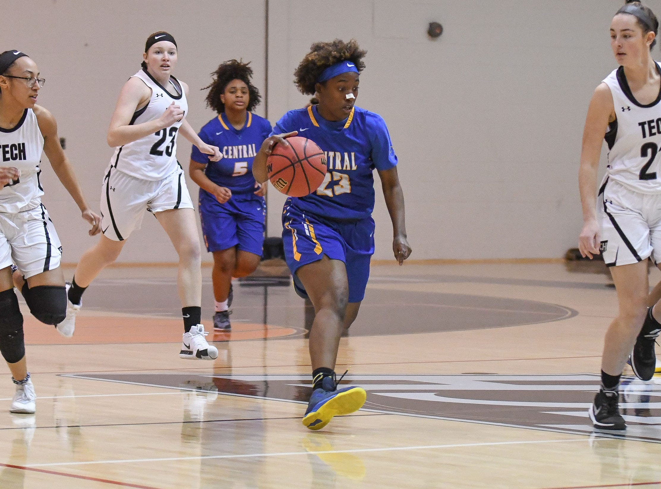 Sussex Central's Ramona Stratton drives the ball down the court against Sussex Tech on Thursday, Jan. 31, 2019.