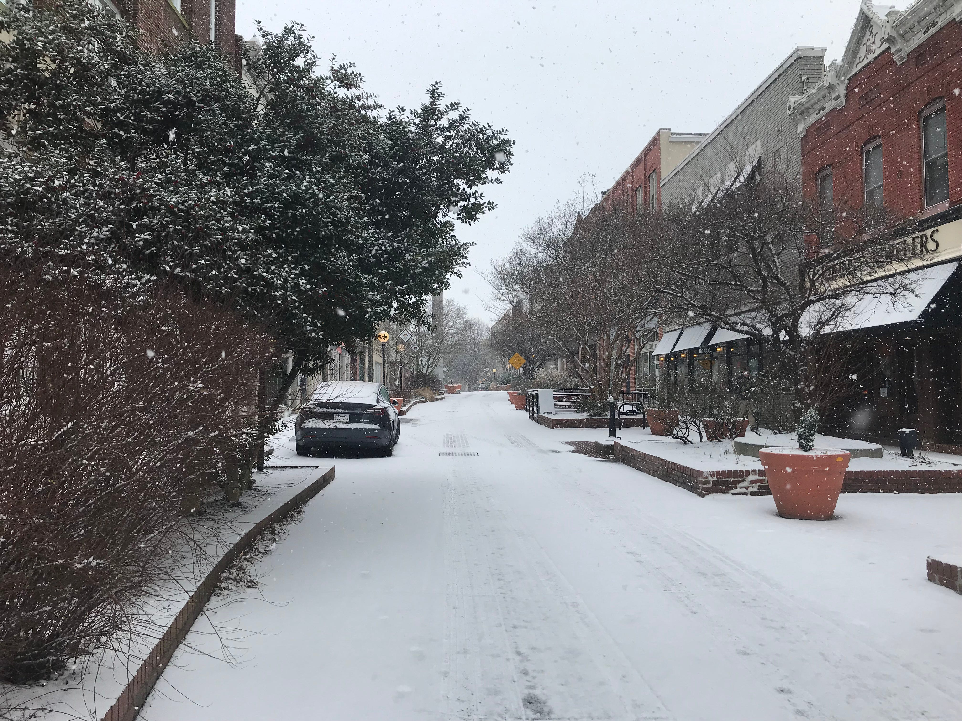 Snow blankets downtown Salisbury on Friday, Feb. 1, 2019.