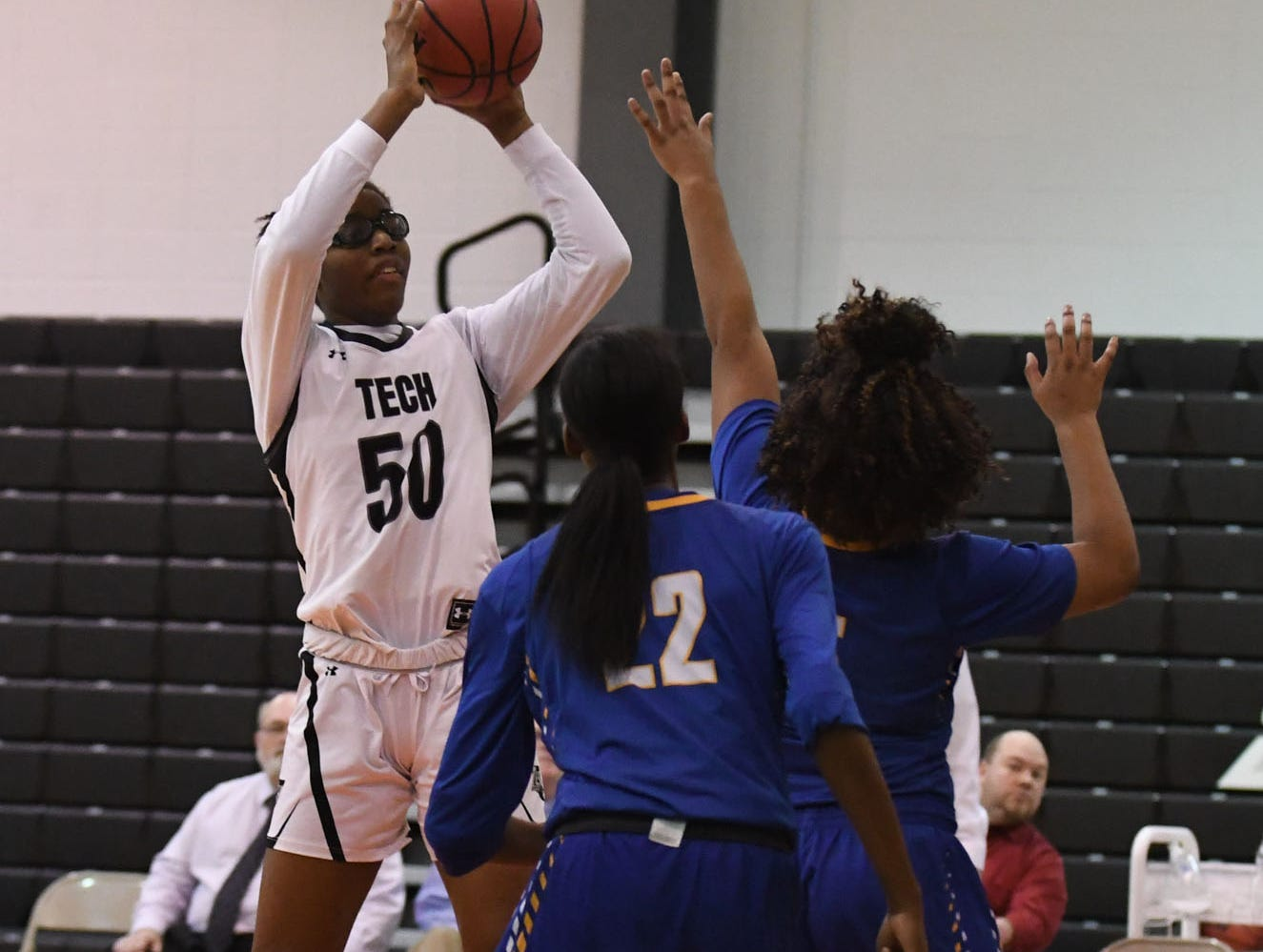 Sussex Tech's Janiya Stevens with the jumper against Sussex Central on Thursday, Jan. 31, 2019.