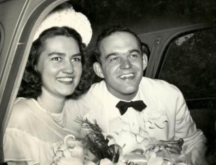 Sheboyganites Verda (Kopetsky) Otten and Henry J. Otten on their wedding day, July 15, 1947 at Our Lady of Lourdes Catholic Church in Marinette, Wis.   The date was chosen by the bride, because it was the  feast of Saint Henry, and her new husband's name was Henry.  Verda's bridal dress was created from recycled parachute fabric because silk fabric was unavailable due to the war efforts.  According to their grandson, the groom was born and raised in Sheboygan and the bride was a teacher in Sheboygan.