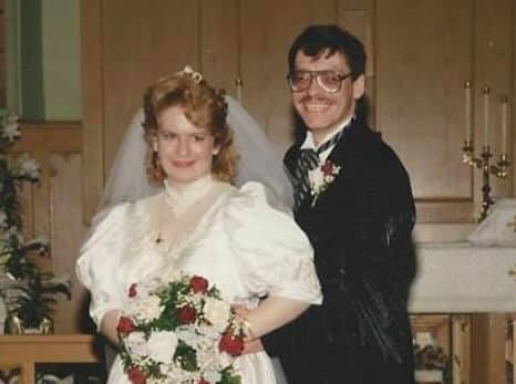 "Amy and Edward Netzer on their wedding day, April 18,1992    ""I was going to LTC at the time and working a part time job for a cleaning company that was Cleaning VPI. My boss at the time tried to introduce us,"" Amy said. ""We did meet one day in October a few days before Sweetest Day.   ""He asked me out that night for Saturday. The next night he gave a dozen red roses just for agreeing to go out with him.   ""We got engaged a few weeks later. We got married 6 months from our first date.""   Oct. 18, 1991 was their first date and they got married on April 18,1992."