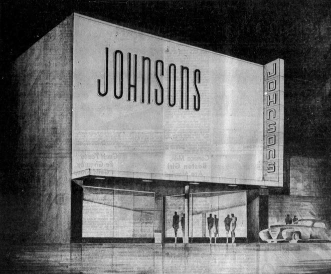 Johnson's Furniture expanded its store in 1945 near Washington High School in downtown Sioux Falls. This architecture concept drawing shows what the store would go on to look like.