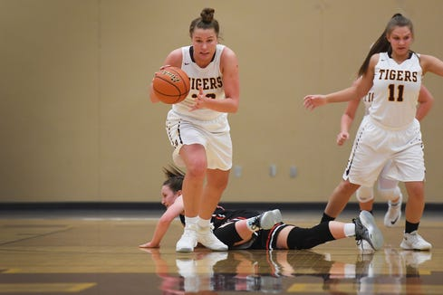 Harrisburg's Jeniah Ugofsky gains control of the ball during the game against Yankton Thursday, Jan. 31, at Harrisburg in Sioux Falls.