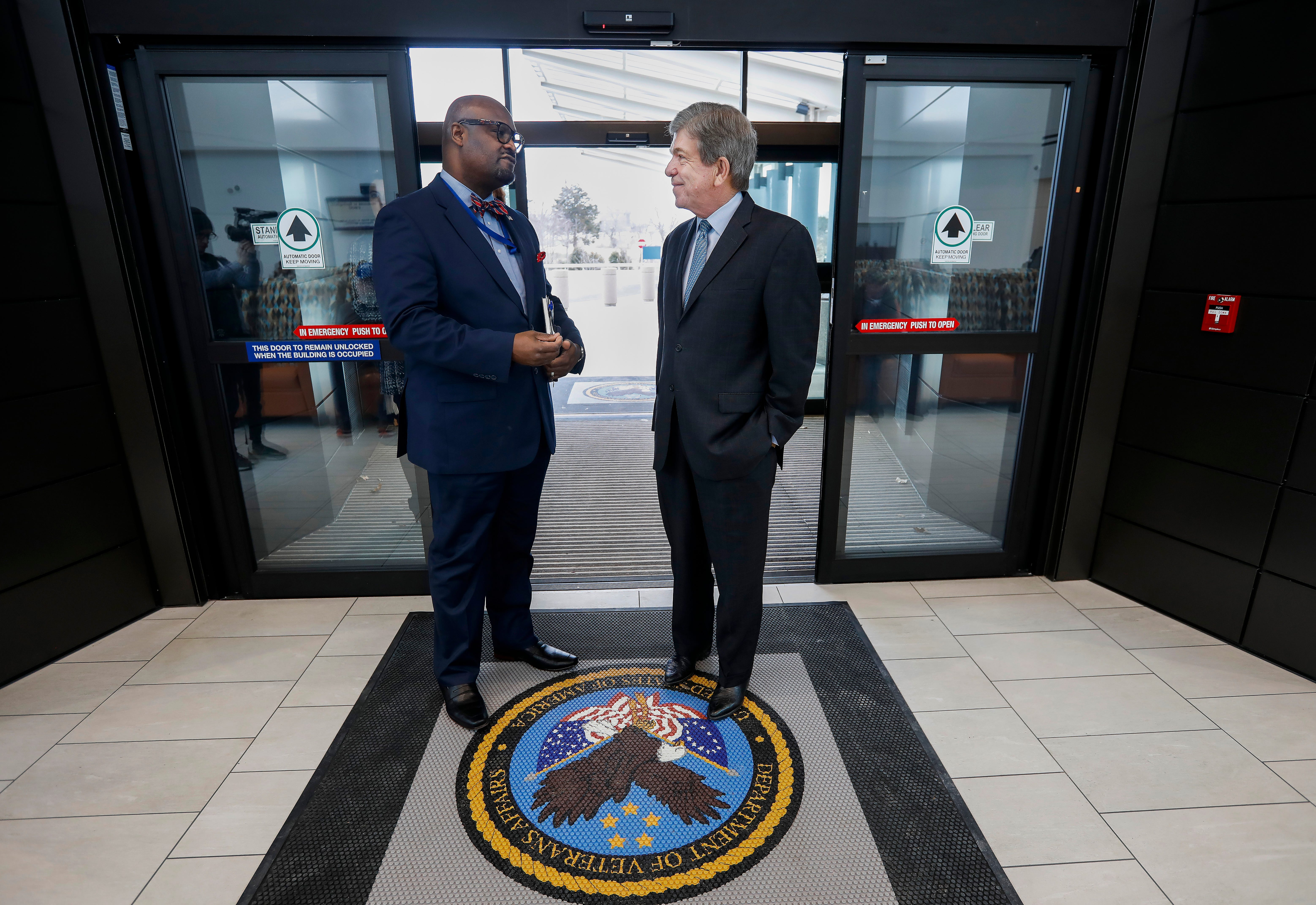 Sen. Roy Blunt, right, talks with Kelvin Parks, director of the Department of Veterans Affairs Gene Taylor Community Based Outpatient Clinic, before touring the new facility on Friday, Feb. 1, 2019.