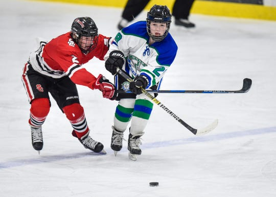Madison Dahnke of the Icebreakers and Kelly Carriere of the Stormin' Sabres battle for control of the puck during the Thursday, Jan. 31, game at Bernicks Arena in Sartell.