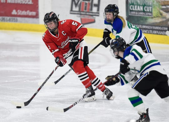 St. Cloud's Taylor Mathiasen skates with the puck during the Thursday, Jan. 31, game at Bernicks Arena in Sartell.