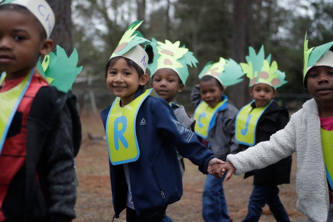"""Pre-K students dressed to represent the book """"Chicka Chicka Boom Boom"""" walk hand in hand during the literacy parade at Oak Ridge Elementary School, a Title I school, on Friday, Feb. 1, 2019. The parade celebrated the end of Literacy Week in Leon County Schools."""