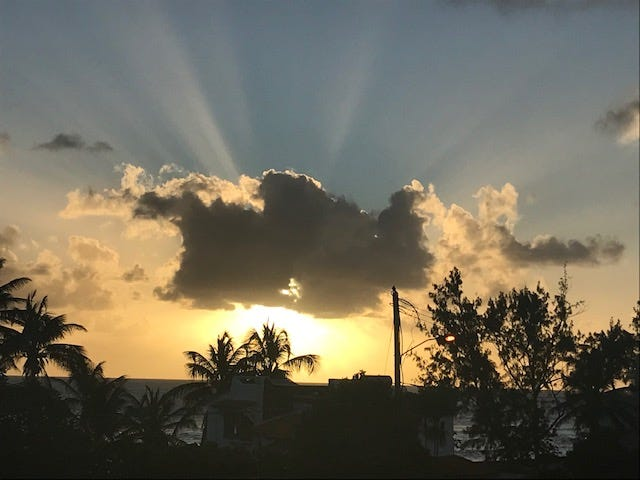 Daily sunset from flat in Barbados.