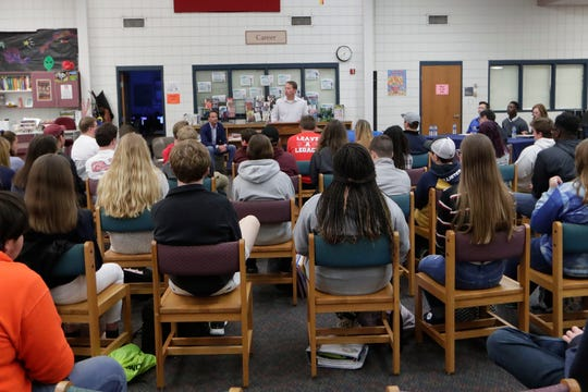 Jason Shoaf, a candidate for House Distract Seven, speaks in front of Wakulla High School students about his campaign. A question and answer forum was hosted by the Wakulla High Teenage Republicans Club and the Wakulla High Democrat Club Friday, Feb. 1, 2019.