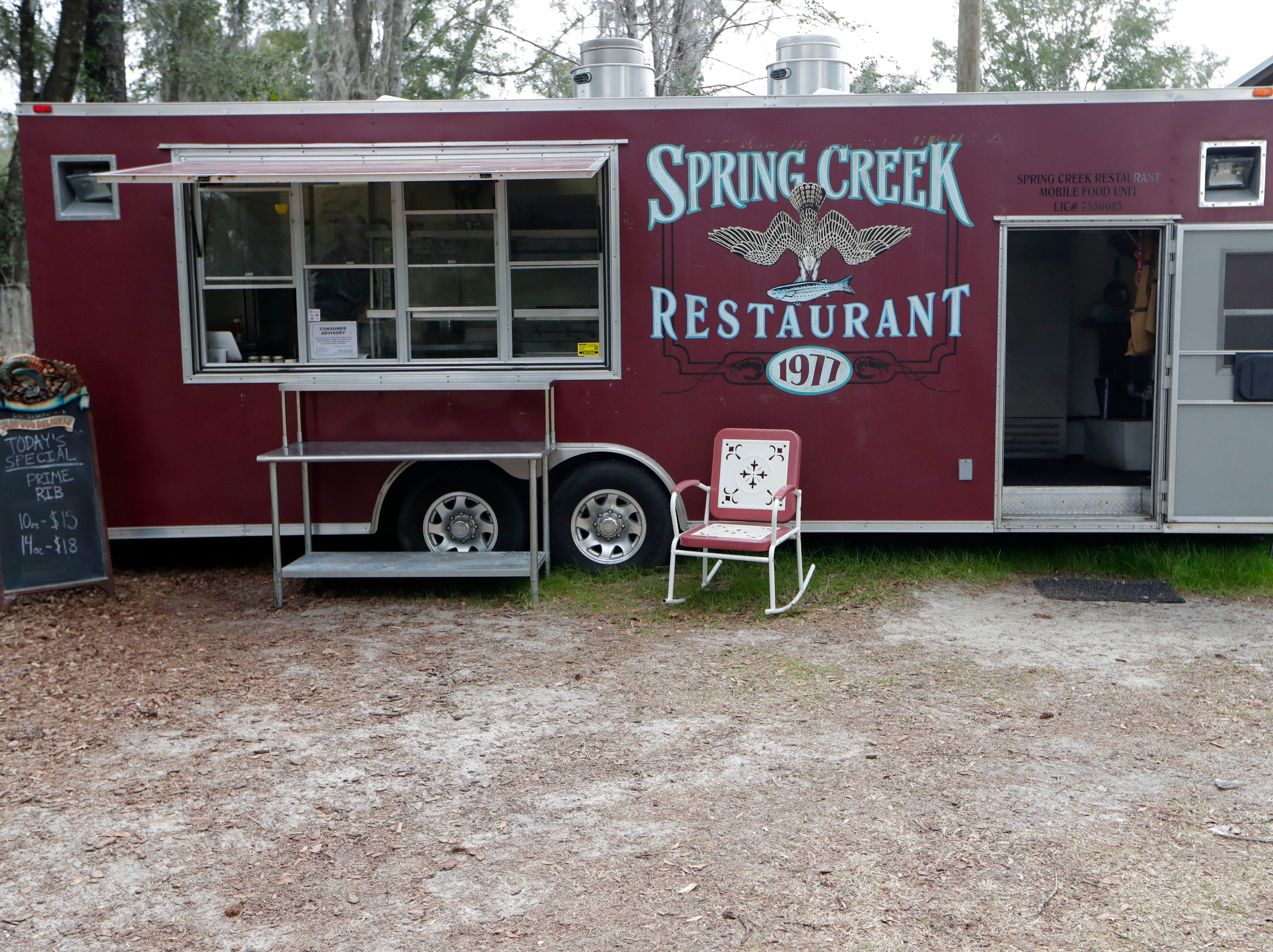 The Spring Creek Restaurant food truck sits behind the Centenial Bank in Crawfordville, Fla. on Ochlockonee Rd. open for business, Friday, Feb. 1, 2019.