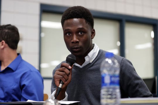 Jamey Harvey, President Wakulla County High School Senior Class, ask HD 7 candidates a question posed by a student at Wakulla High School, Friday, Feb. 1, 2019