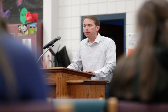 Jason Shoaf, a candidate for House District Seven, speaks to Wakulla High School students about his campaign at a question and answer forum hosted by the Wakulla High Teenage Republicans Club and the Wakulla High Democrats Club Friday, Feb. 1, 2019.