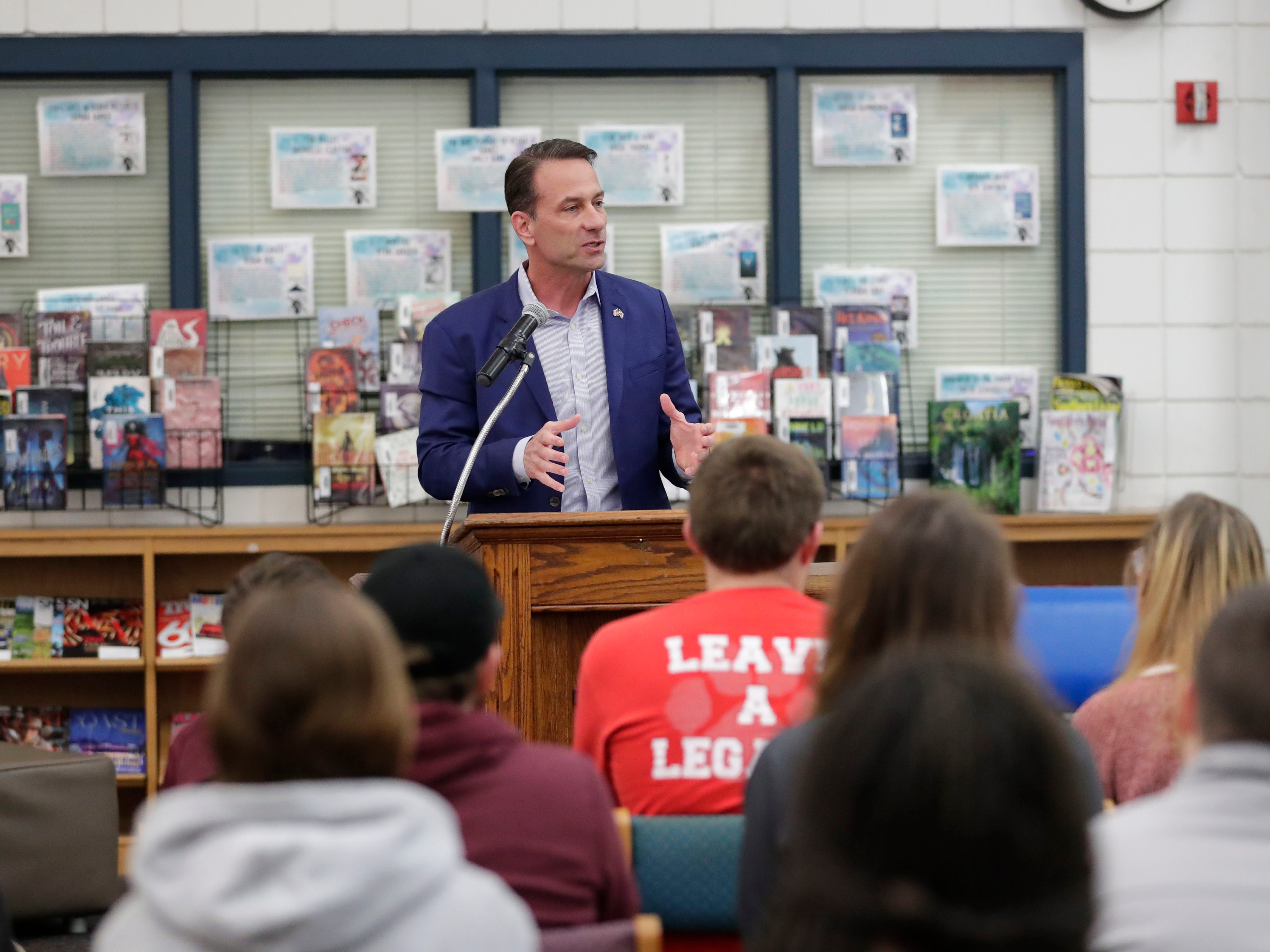 Mike Watkins, a candidate for House District Seven, speaks to Wakulla High School students about his campaign at a question and answer forum hosted by the Wakulla High Teenage Republicans Club and the Wakulla High Democrats Club Friday, Feb. 1, 2019.