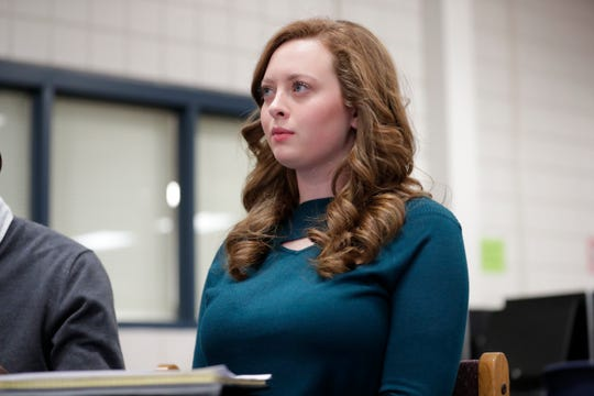 Elizabeth Hughes, president of the Wakulla High Teenage Republicans Club, listens as House District Seven candidate Jason Shoaf responds to a question at a question and answer forum hosted at Wakulla High School Friday, Feb. 1, 2019.