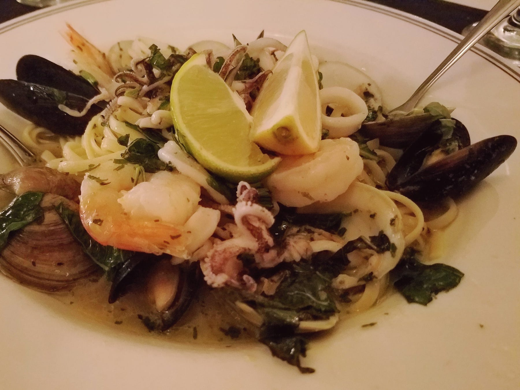 The seafood DiMare at 18 Seminole Street was full of clams, mussels, shrimp and calamari tossed in a white garlic basil sauce served over linguine.