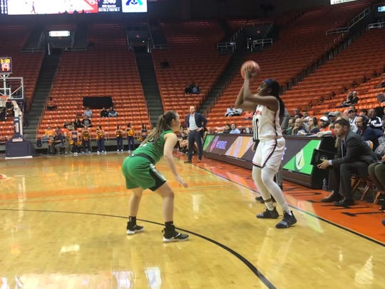 UTEP's Jordan Alexander looks to pass against Marshall Thursday night at the Don Haskins Center