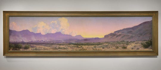 """View of El Paso at Sunset"" was painted in 1925 by Audley Dean Nicols. It was commissioned for the First National Bank in El Paso before being purchased by a private owner and later donated to the El Paso Independent School District. The painting now hangs in the El Paso Museum of Art."