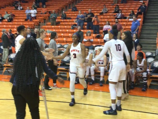 Jordan Alexander takes the floor prior to UTEP's game against Marshall at the Don Haskins Center