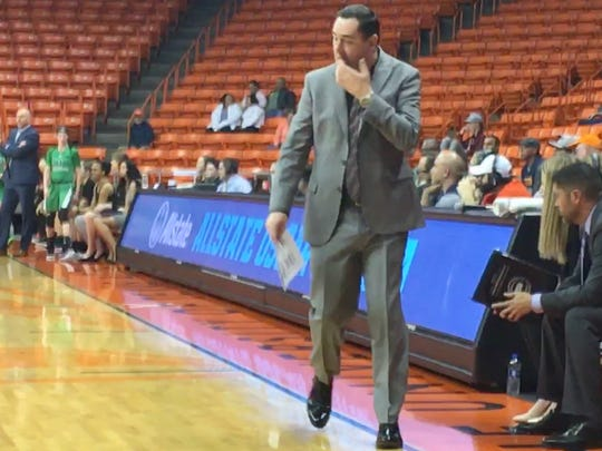UTEP coach Kevin Baker coaches his team against Marshall on Thursday night at the Don Haskins Center.