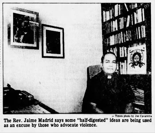 "Jan. 26, 1985 - The Rev. Jaime Madrid says some ""half-digsted"" ideas are being used as an excuse by those who advocate violence."