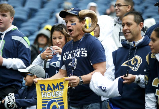 Rams fans show up for a road game at Seattle earlier this season.