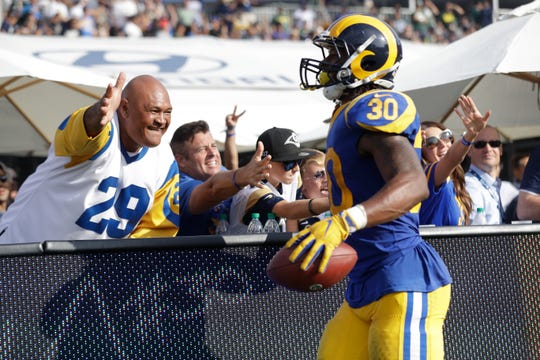 Rams running back Todd Gurley celebrates his touchdown with fans during a home game earlier this season.