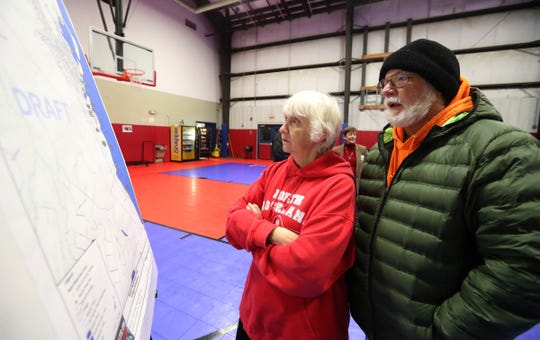 Linda and Larry Montroy look over draft maps prior to a joint comprehensive planning meeting at the Haverstraw Community Center in Haverstraw on Wednesday, Jan. 30, 2019.