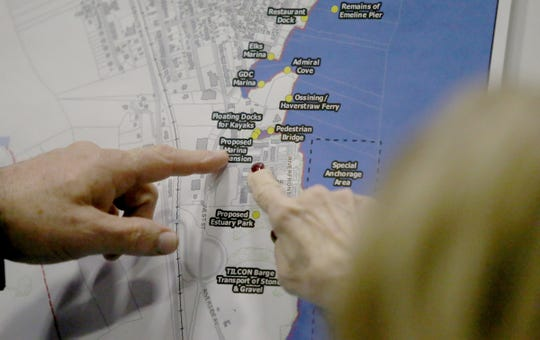 Haverstraw residents point to locations on a draft map prior to a joint comprehensive planning meeting at the Haverstraw Community Center in Haverstraw on Wednesday, Jan. 30, 2019.