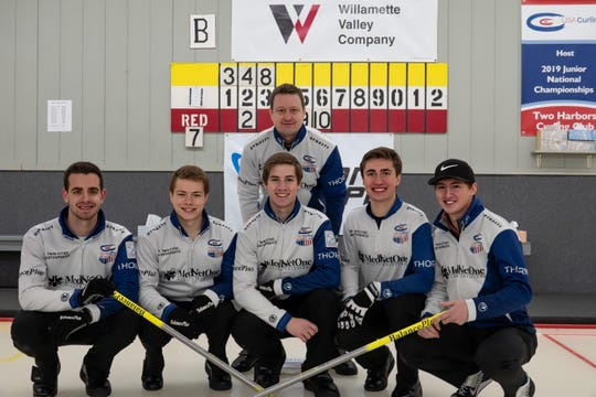 Andrew Stopera (l) with teammates and coach after winning 2019 U.S. Junior curling title.