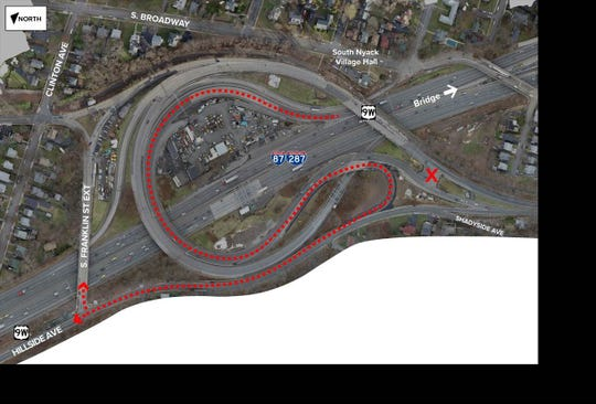 "A new traffic pattern is coming to the New York State Thruway Exit 10. Drivers heading into the Nyacks will be connected to Hillside Avenue/Route 9W by following an ""S"" traffic pattern instead of making a full circle."