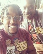 """Jerome Brown Jr. (right) and friend Devin Chambers at CBS Television City in Hollywood before a taping of """"The Price Is Right"""" in December."""