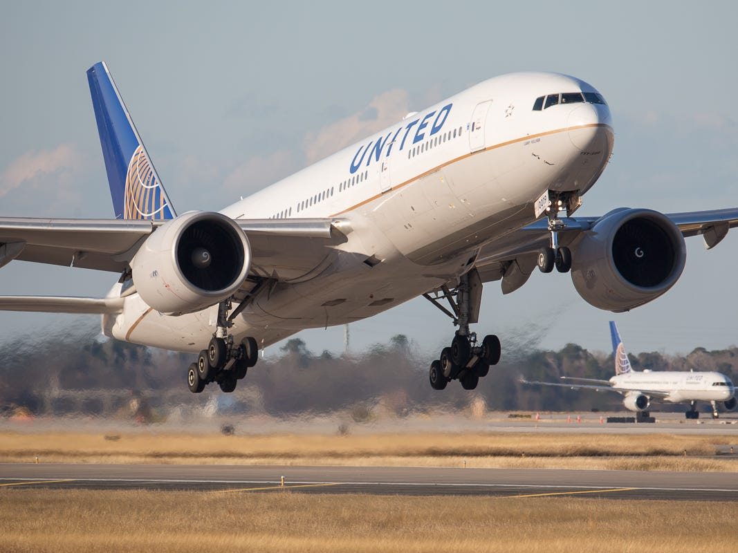 Bound for London, a United Airlines Boeing 777-200 takes off from George Bush Intercontinental Airport in Houston on Jan. 27, 2019.