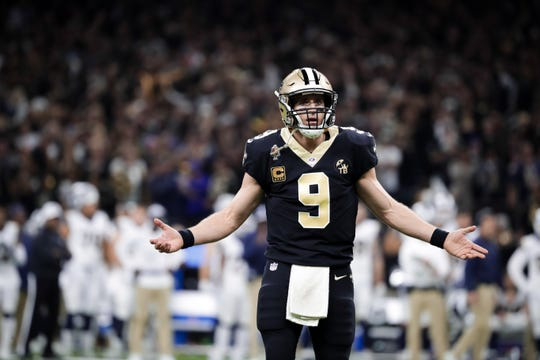 New Orleans Saints quarterback Drew Brees (9) reacts during the fourth quarter of the NFC Championship game at Mercedes-Benz Superdome.