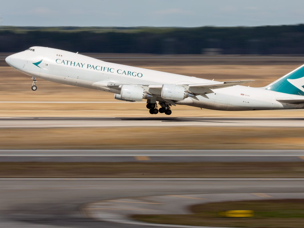 Bound for Anchorage, Alaska, a Cathay Pacific Cargo Boeing 747-8F takes off from George Bush Intercontinental Airport in Houston on Jan.27, 2019.