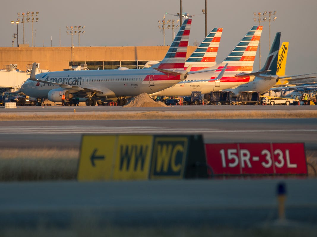 Jets fill the gates at Terminal A at George Bush Intercontinental Airport in Houston on Jan. 27, 2019.