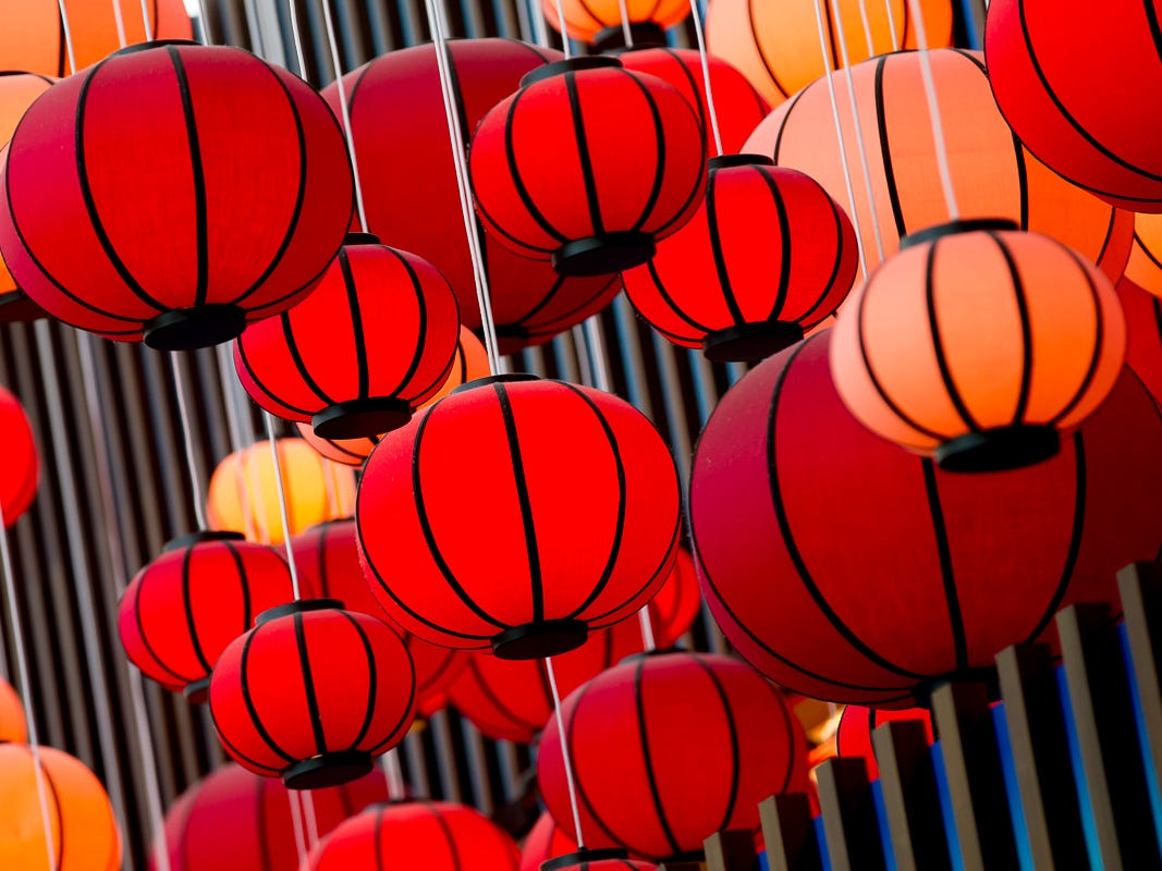 A canopy of lanterns hovers over Yume, an Asian-themed restaurant at George Bush Intercontinental Airport in Houston on Jan. 27, 2019.