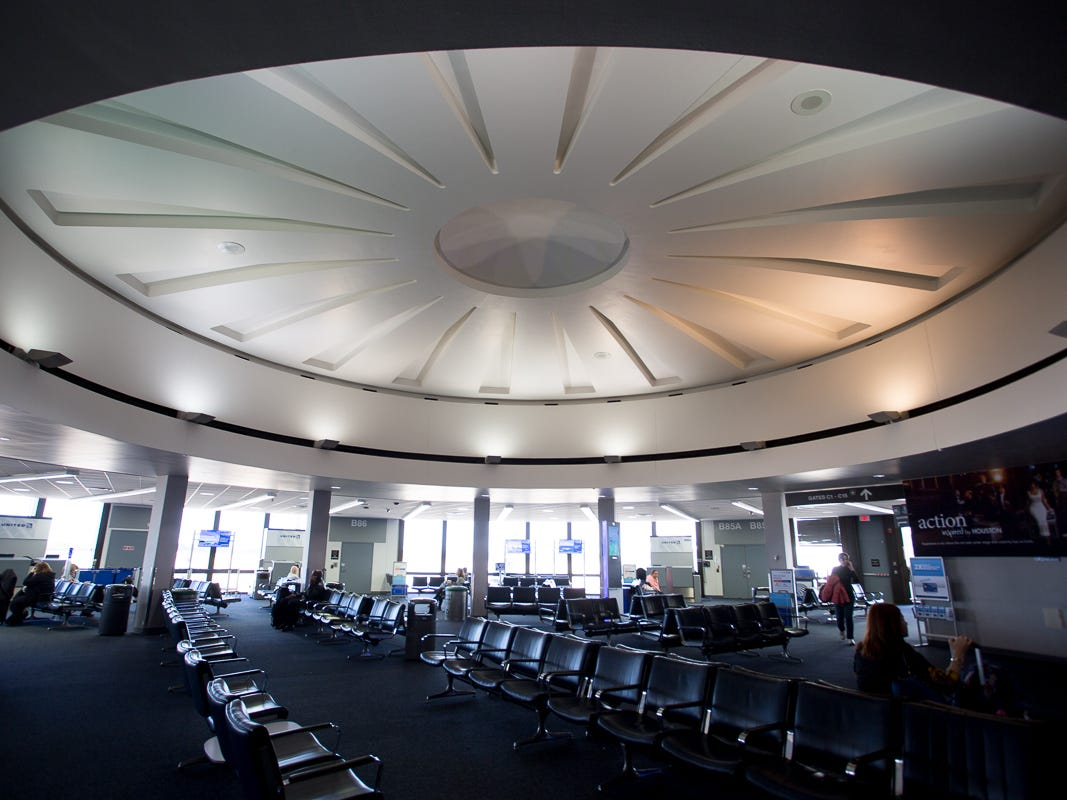 """This is the interior of one of the """"banjo"""" terminals, built in the late 1960s, at Houston Intercontinental's Terminal B."""